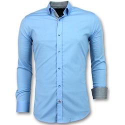 textil Herr Långärmade skjortor Tony Backer Business Blanco Blus Ljus Blå