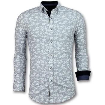 textil Herr Långärmade skjortor Tony Backer Italiensk Blus Skjorta Blommönster Vit