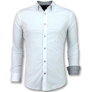 textil Herr Långärmade skjortor Tony Backer Italian Blouse Men Slim Fit Vit