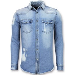 textil Herr Långärmade skjortor Enos Ljus Jeanss Kjorta Jeanss Kjorta Slim Fit JB Blå