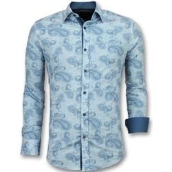 textil Herr Långärmade skjortor Tony Backer Italienska Mönstrad Skjorta Blå