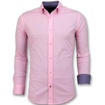 textil Herr Långärmade skjortor Tony Backer Italienska Blanco Blus Rosa