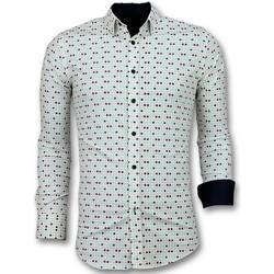 textil Herr Långärmade skjortor Tony Backer Slim Fit Tetris Motif Herrskjorta Beige