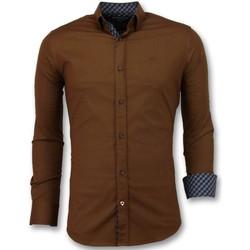 textil Herr Långärmade skjortor Tony Backer Italienska Blanka Blusar Slim Fit Business Brun