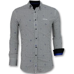 textil Herr Långärmade skjortor Tony Backer Italienska Blus Skjorta Ränder Vit