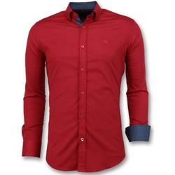 textil Herr Långärmade skjortor Tony Backer Italienska Blanka Blusar Slim Fit Business Röd