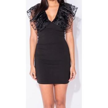 textil Dam Korta klänningar Parisian Polka Dot Sheer Ruffle Sleeve V Neck Bodycon Mini Svart