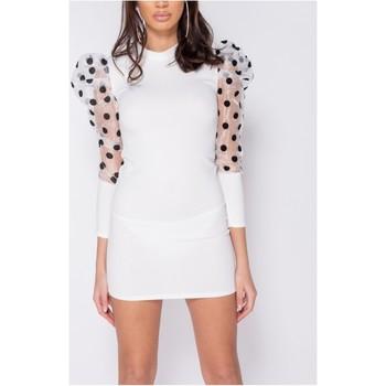 textil Dam Korta klänningar Parisian Sheer Polka Dot Organza Sleeve Bodycon Klänning Kvinnor Vit