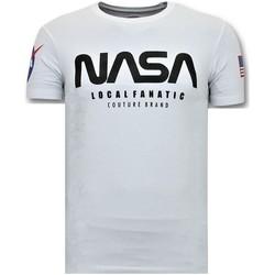 textil Herr T-shirts Local Fanatic Push Nasa Amerikanska Flaggan Vit