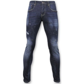 textil Herr Stuprörsjeans True Rise Dläggande Pants Jeans Färgfläckar D Blå