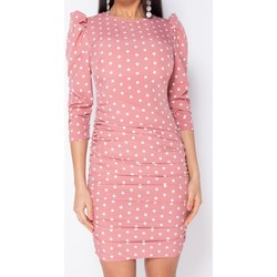 textil Dam Korta klänningar Parisian Polka Dot Puff Sleeve Ruching Detalj Bodycon Dress Pink Rosa