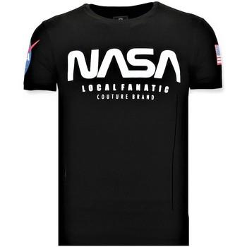 textil Herr T-shirts Local Fanatic Tryckt NASA Amerikanska Flaggan Svart