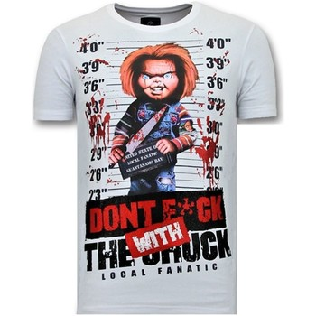 textil Herr T-shirts Local Fanatic Tryck Bloody Chucky Angry Vit