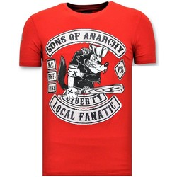 textil Herr T-shirts Local Fanatic T Skjorta Tryck Sons Of Anarchy Print Röd