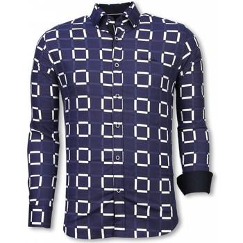 textil Herr Långärmade skjortor Tony Backer Mönstrad Skjorta Slim Fit Stretch Shirt Blå