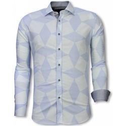 textil Herr Långärmade skjortor Tony Backer Detaljer Ljus Blå