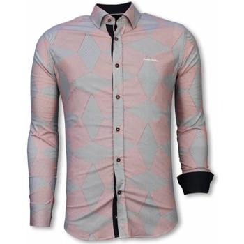 textil Herr Långärmade skjortor Tony Backer För Bomullsskjorta Rosa