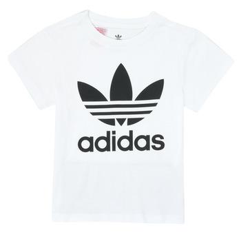 textil Barn T-shirts adidas Originals TREFOIL TEE Vit