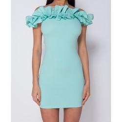 textil Dam Korta klänningar Parisian Ruffle Detail Bardot Bodycon Klänning Kvinnor Turkos
