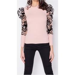 textil Dam Blusar Parisian Flocktryck Sheer Organza High Neck Ärmlös Top Kvinnor Pink Rosa