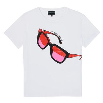 textil Flickor T-shirts Emporio Armani 6H3T7T-3J2IZ-0100 Vit