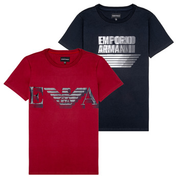 textil Pojkar T-shirts Emporio Armani 6H4D22-4J09Z-0353 Svart / Röd