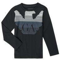 textil Pojkar Långärmade T-shirts Emporio Armani 6H4T17-1J00Z-0999 Svart
