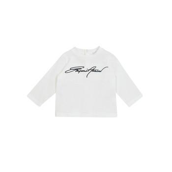 textil Pojkar Långärmade T-shirts Emporio Armani 6HHTJN-1JTUZ-0101 Vit