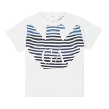 textil Pojkar T-shirts Emporio Armani 6HHTQ7-1J00Z-0101 Vit