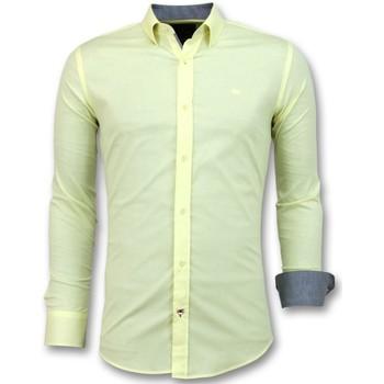 textil Herr Långärmade skjortor Tony Backer Italienska Blanco Blouse Herrskjorta Långärmad Gul