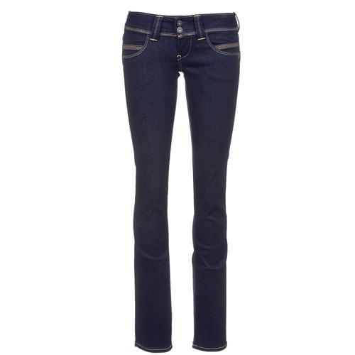 textil Dam Raka byxor Pepe jeans VENUS Blå / M15