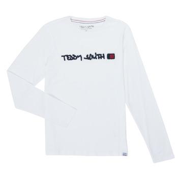 textil Pojkar Långärmade T-shirts Teddy Smith CLAP Vit