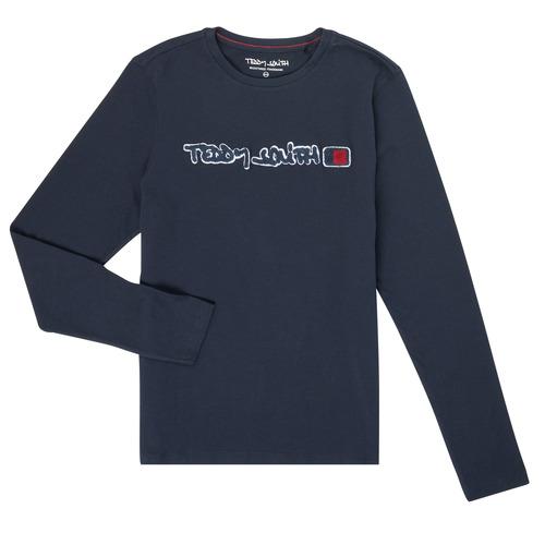 textil Pojkar Långärmade T-shirts Teddy Smith CLAP Marin