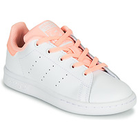 Skor Flickor Sneakers adidas Originals STAN SMITH C Vit / Rosa