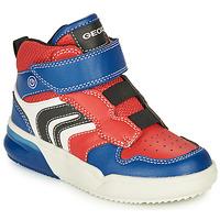 Skor Pojkar Höga sneakers Geox GRAYJAY Röd / Blå