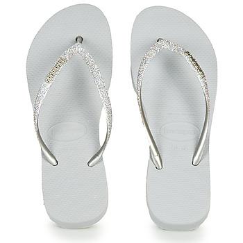 Skor Dam Flip-flops Havaianas Slim Flatform Glitter Silverfärgad