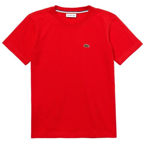 textil Pojkar T-shirts Lacoste TJ1442-F8M-J Röd