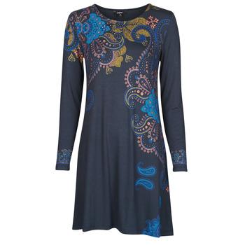 textil Dam Korta klänningar Desigual WASHINTONG Blå