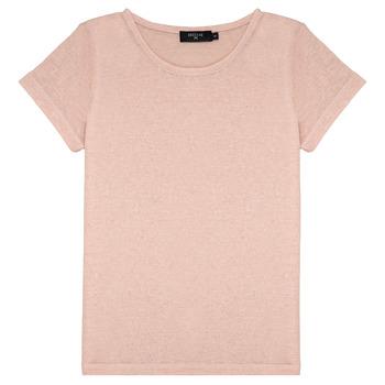 textil Flickor T-shirts Deeluxe GLITTER Rosa