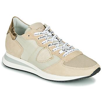 Skor Dam Sneakers Philippe Model TROPEZ X MONDIAL CROCO Beige