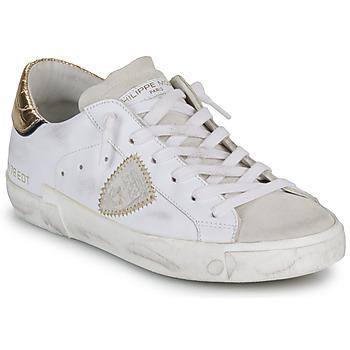 Skor Dam Sneakers Philippe Model PARIS X VEAU CROCO Vit / Guldfärgad