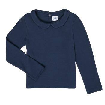 textil Flickor Långärmade T-shirts Petit Bateau LOVING Marin