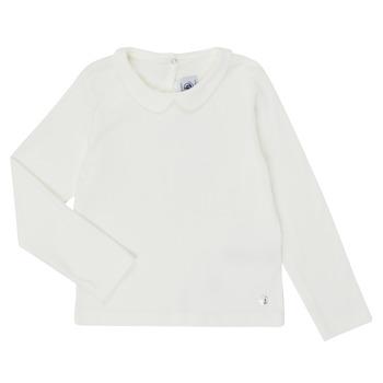 textil Flickor Långärmade T-shirts Petit Bateau LOVING Vit