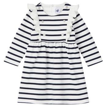 textil Flickor Korta klänningar Petit Bateau LEVRIER Vit / Marin