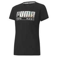 textil Flickor T-shirts Puma ALPHA TEE 165 Svart