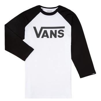 textil Pojkar Långärmade T-shirts Vans VANS CLASSIC RAGLAN Svart / Vit