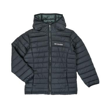 textil Pojkar Täckjackor Columbia POWDER LITE HOODED JACKET Svart