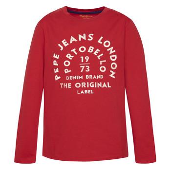textil Pojkar Långärmade T-shirts Pepe jeans ANTONI Röd