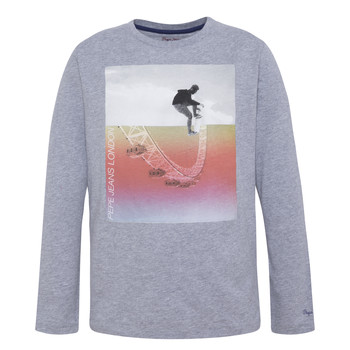 textil Pojkar Långärmade T-shirts Pepe jeans EDGAR Grå