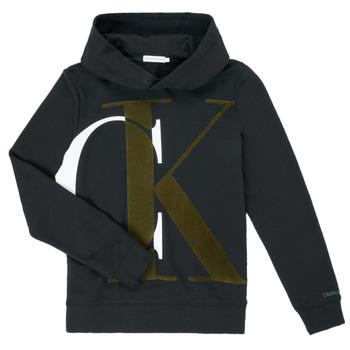 textil Pojkar Sweatshirts Calvin Klein Jeans IB0IB00628-BEH Svart